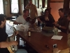 Sioux River Folk Fest - Our roommates for the weekend, Foghorn Stringband, warming up at the breakfast table